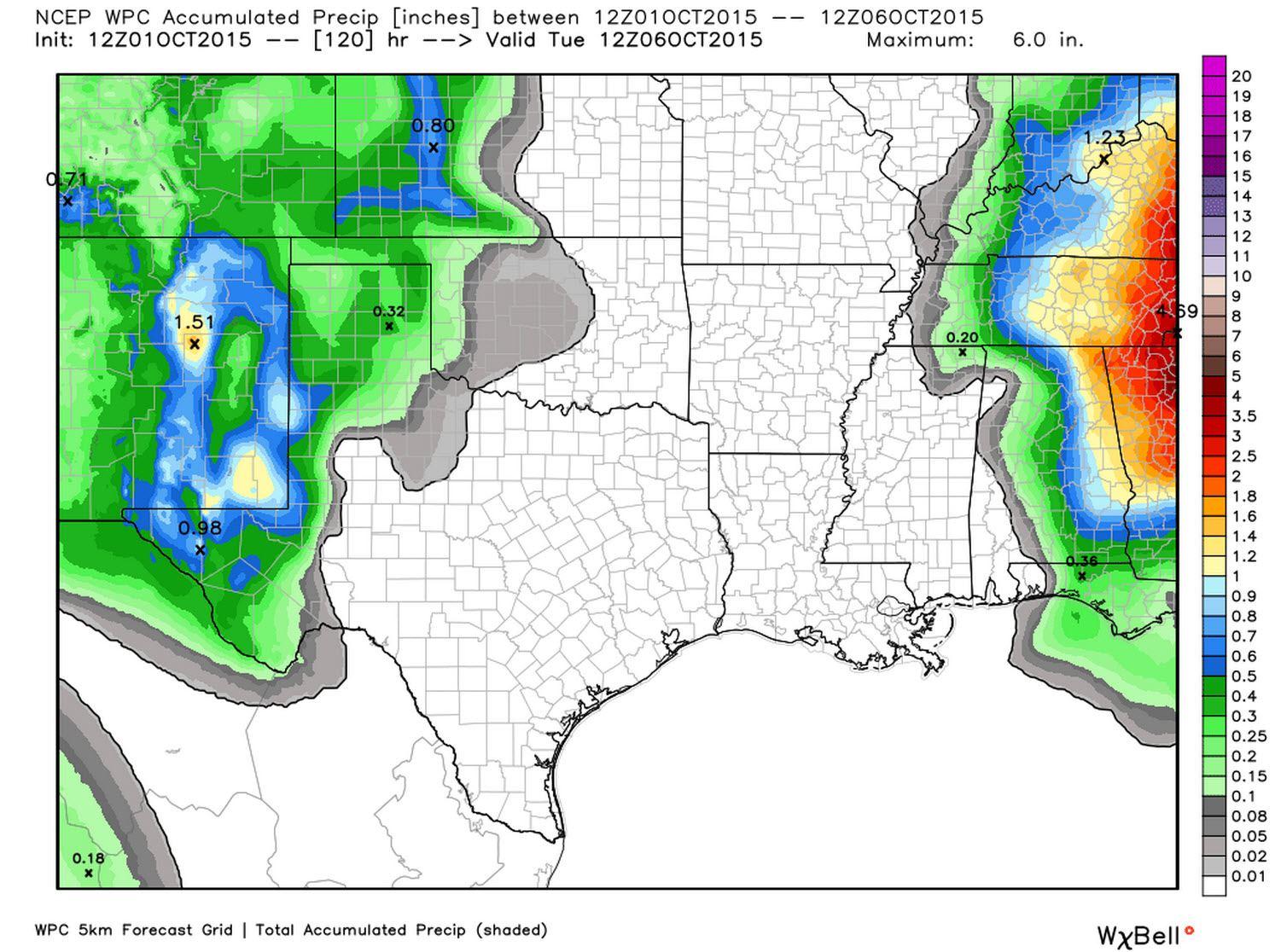 Rain forecast totals through Monday, October 5