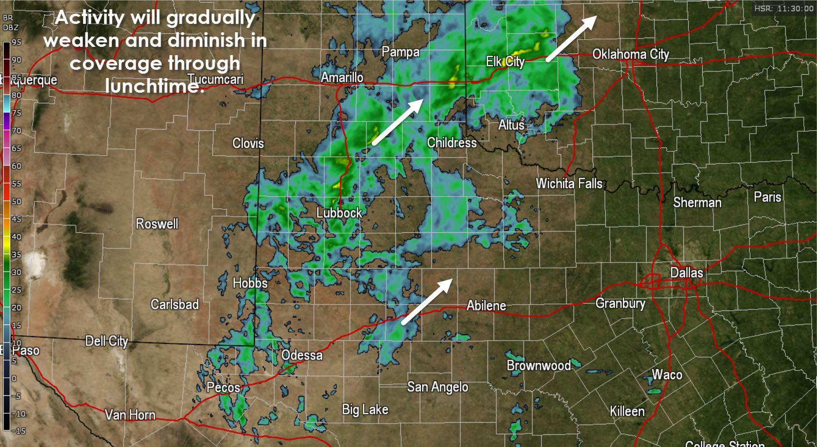 Regional radar across West Texas at 6:30 AM