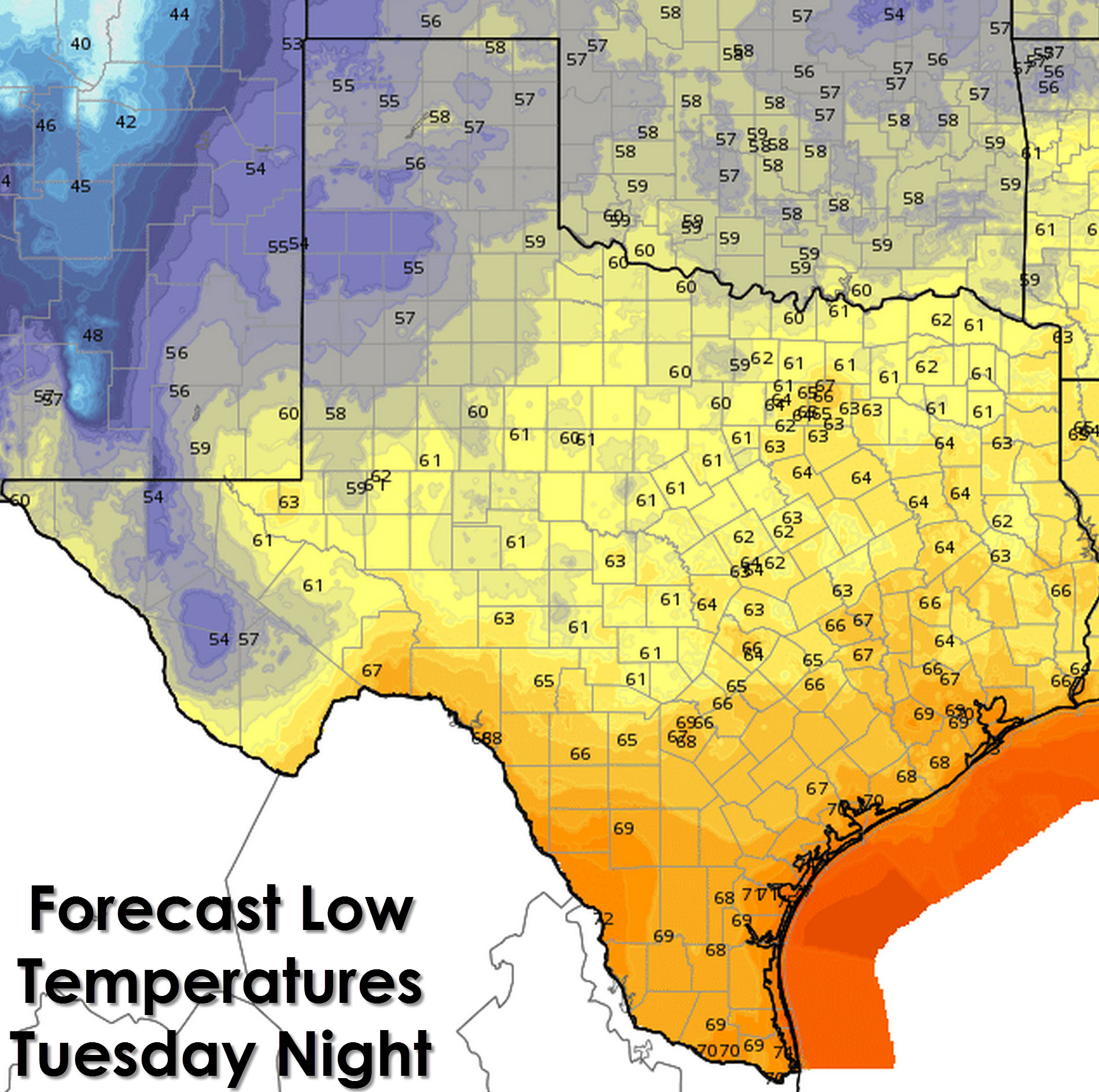 Low temperature forecast tonight (Tuesday Night)