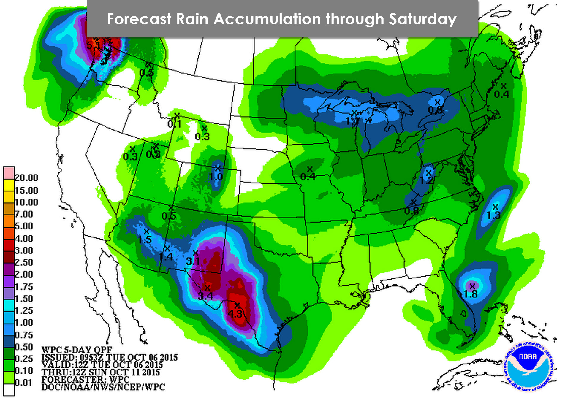 Rain Forecast from NOAA/Weather Prediction Center through Saturday