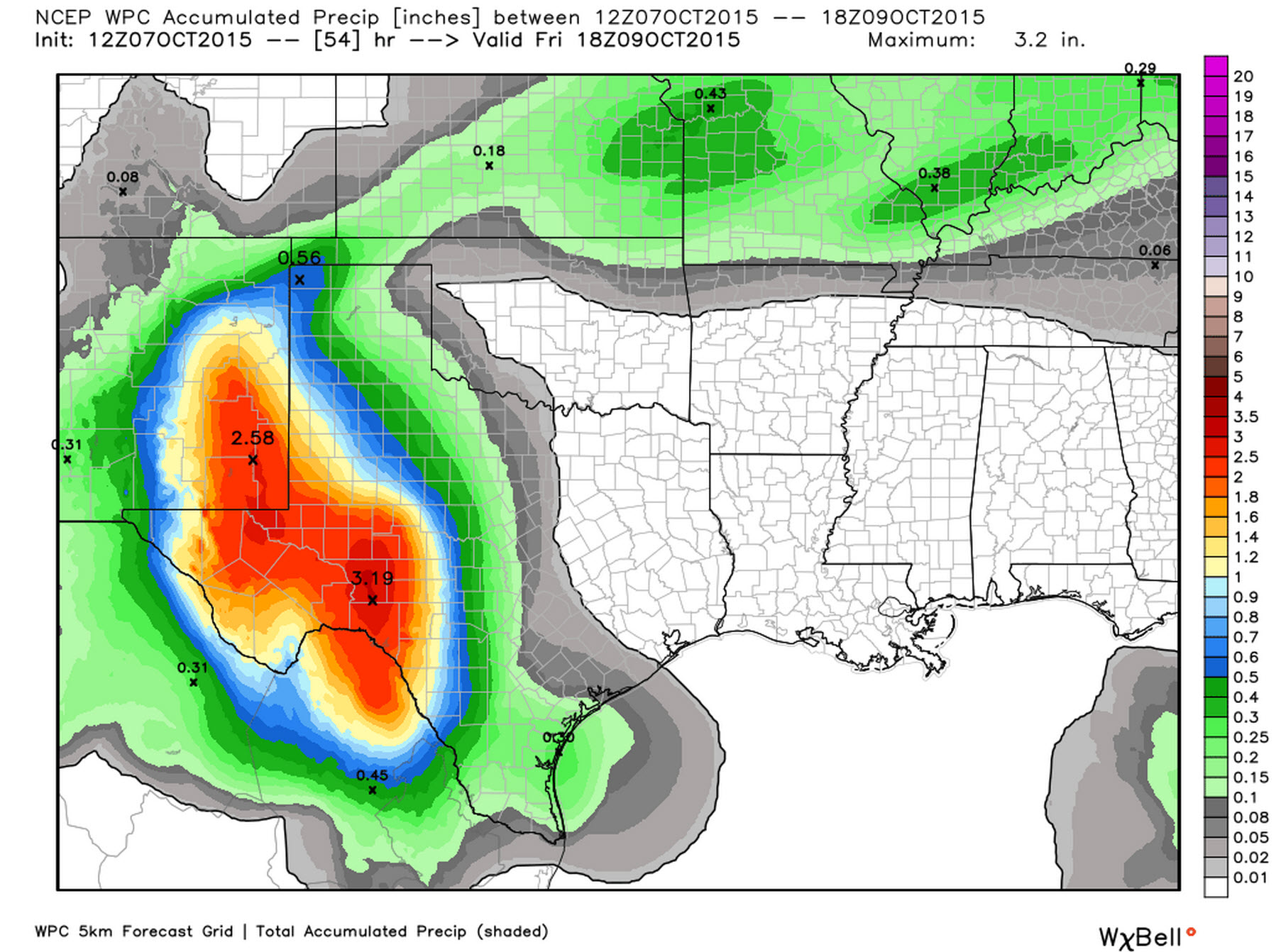 Forecast rain totals through Thursday Night from the Weather Prediction Center
