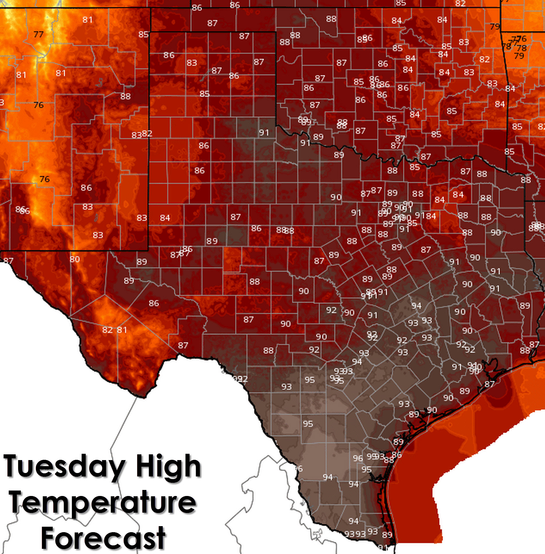 This afternoon's high temperature forecast from the National Weather Service