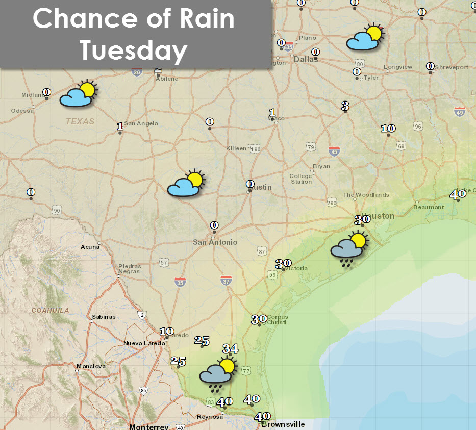 Chance of rain later this morning into the afternoon hours