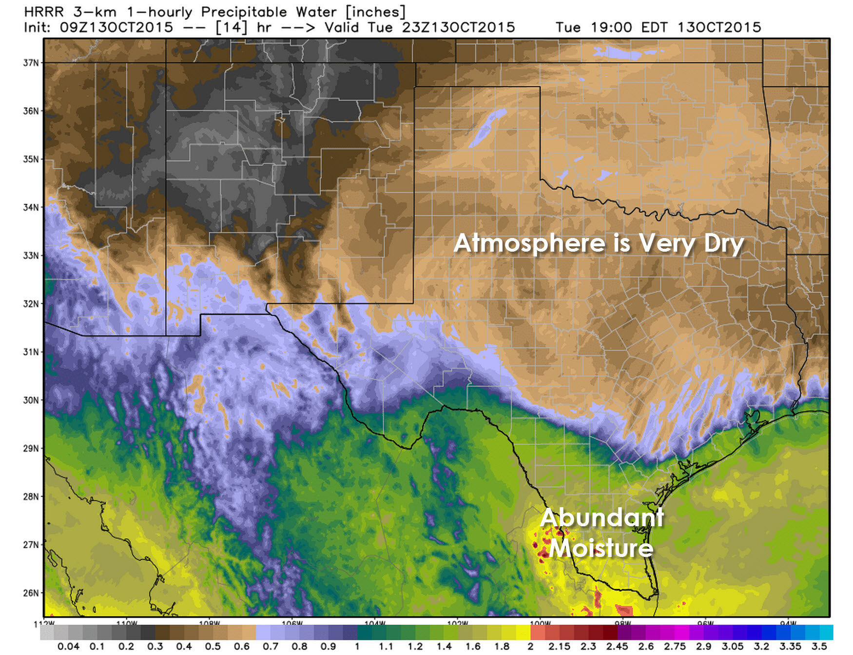 Forecast precipitable water values by late Tuesday afternoon. The cool front is easily identifiable across South Texas.