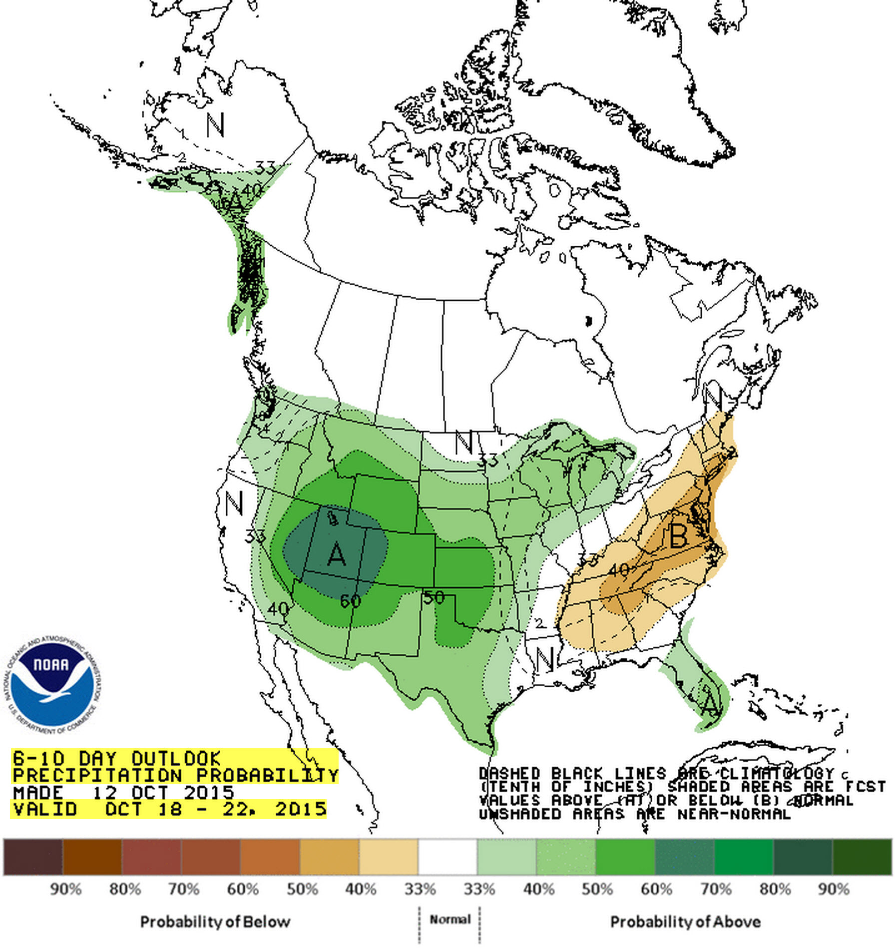 Precipitation outlook for October 18-22 from the Climate Prediction Center