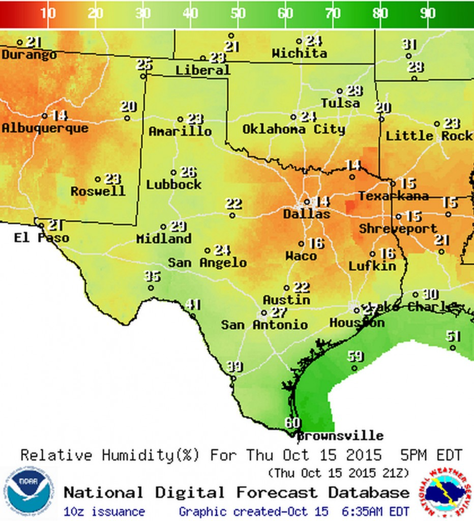 Relative humidity values this afternoon will be very low across much of Texas.