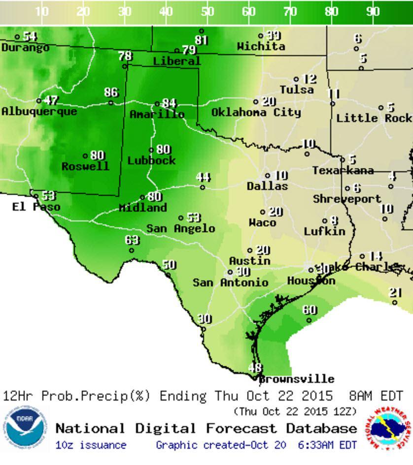 Chance of rain/storms Wednesday Night