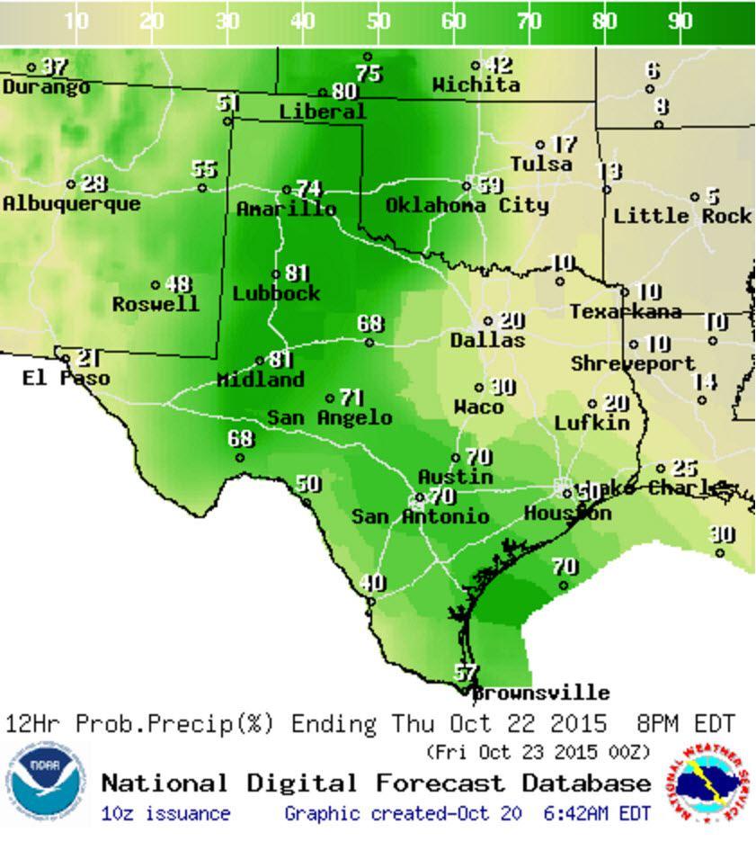 Chance of rain/storms Thursday