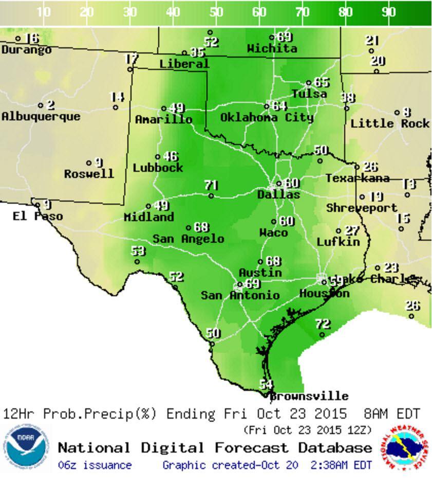 Chance of rain/storms Thursday Night