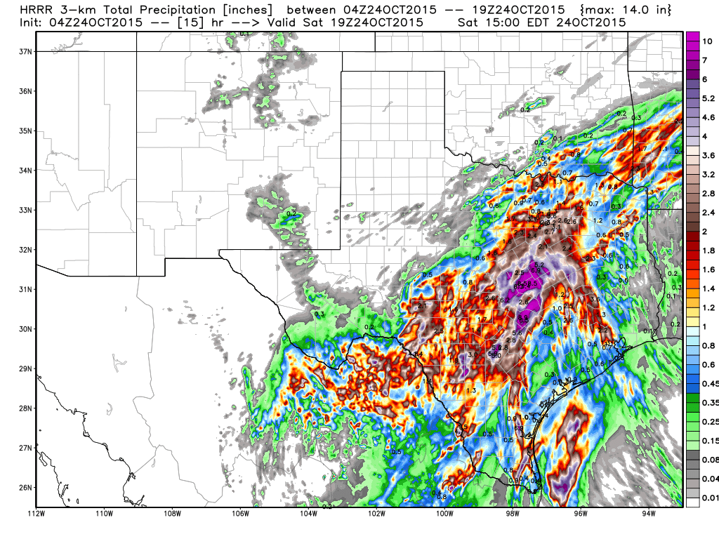 Example of heavy rain potential through early afternoon from the HRRR Weather Model
