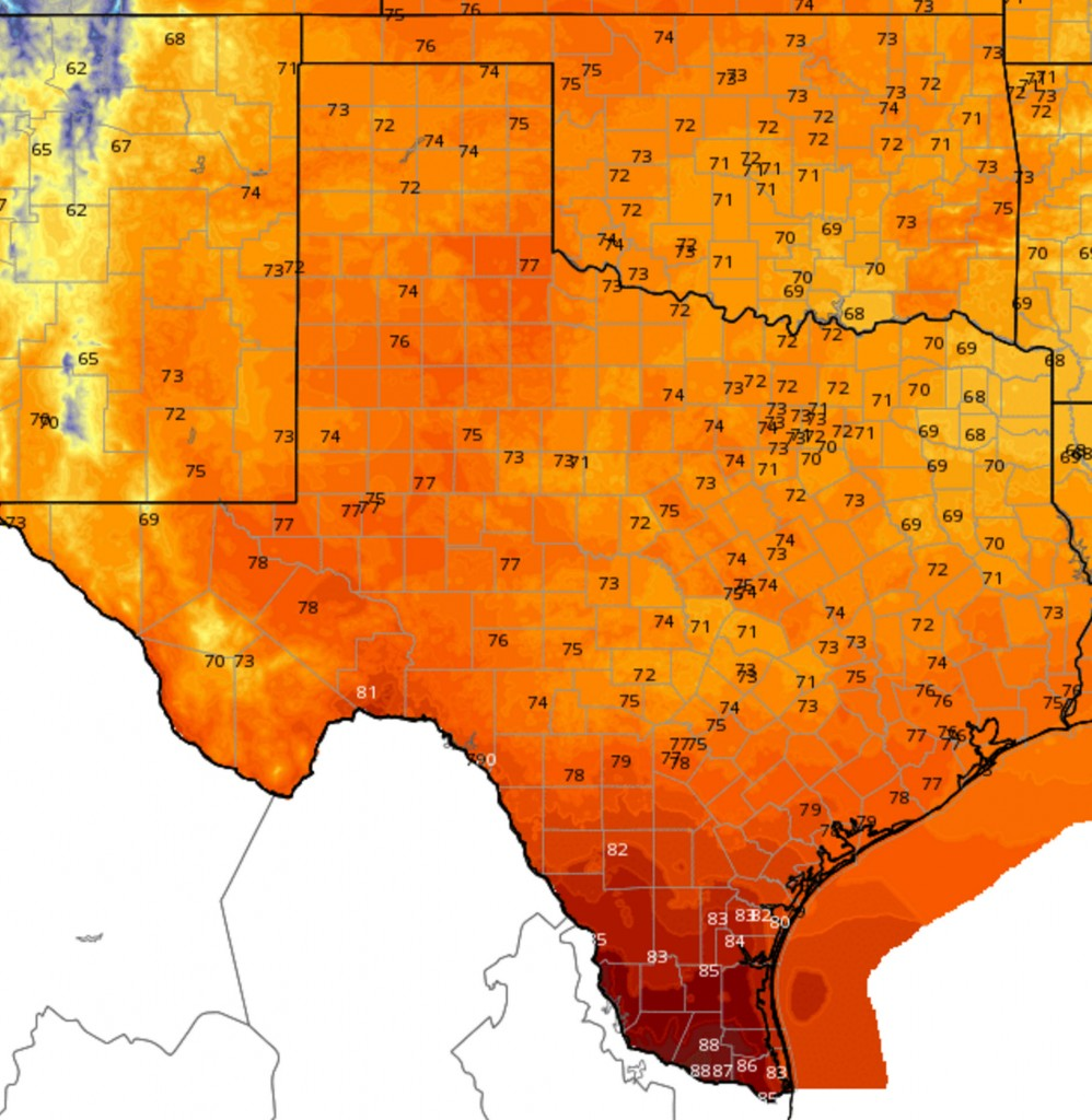 Sunday, November 1, High Temperature Forecast