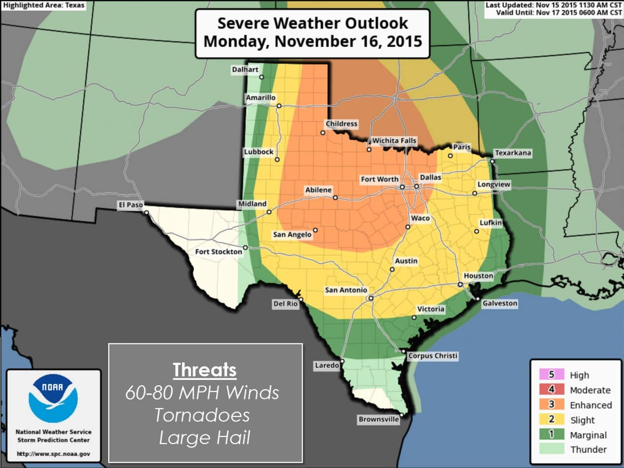 Severe Weather Outbreak Possible Monday Night & Tuesday Morning