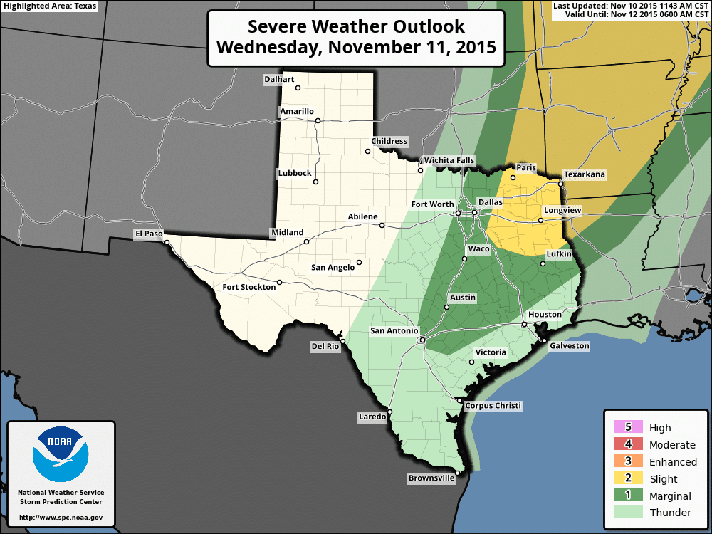A Few Strong Storms and High Winds Likely Tomorrow Behind Cold Front