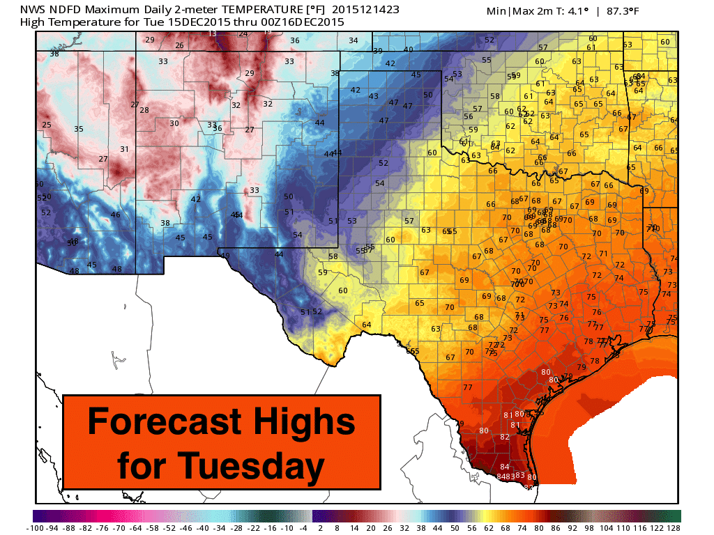 Highs Tuesday