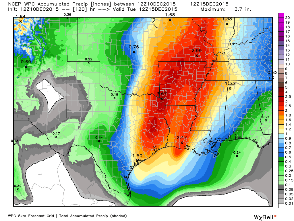 Projected rain totals with the weekend storm system