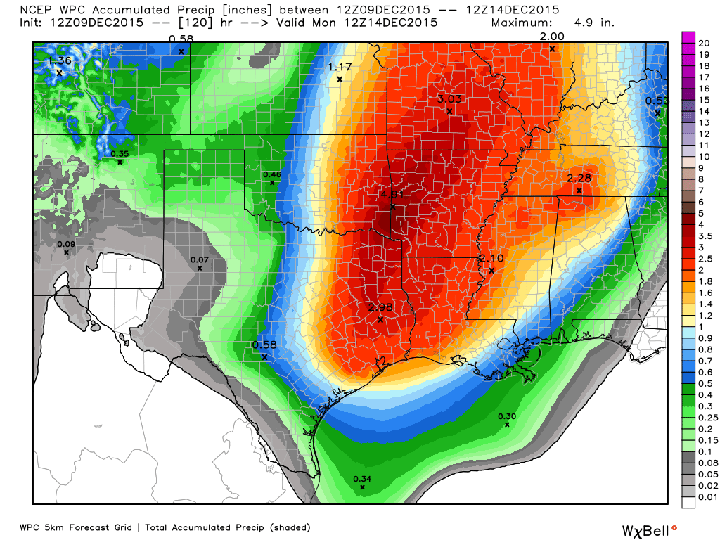Potential rain accumulations from Friday through Monday