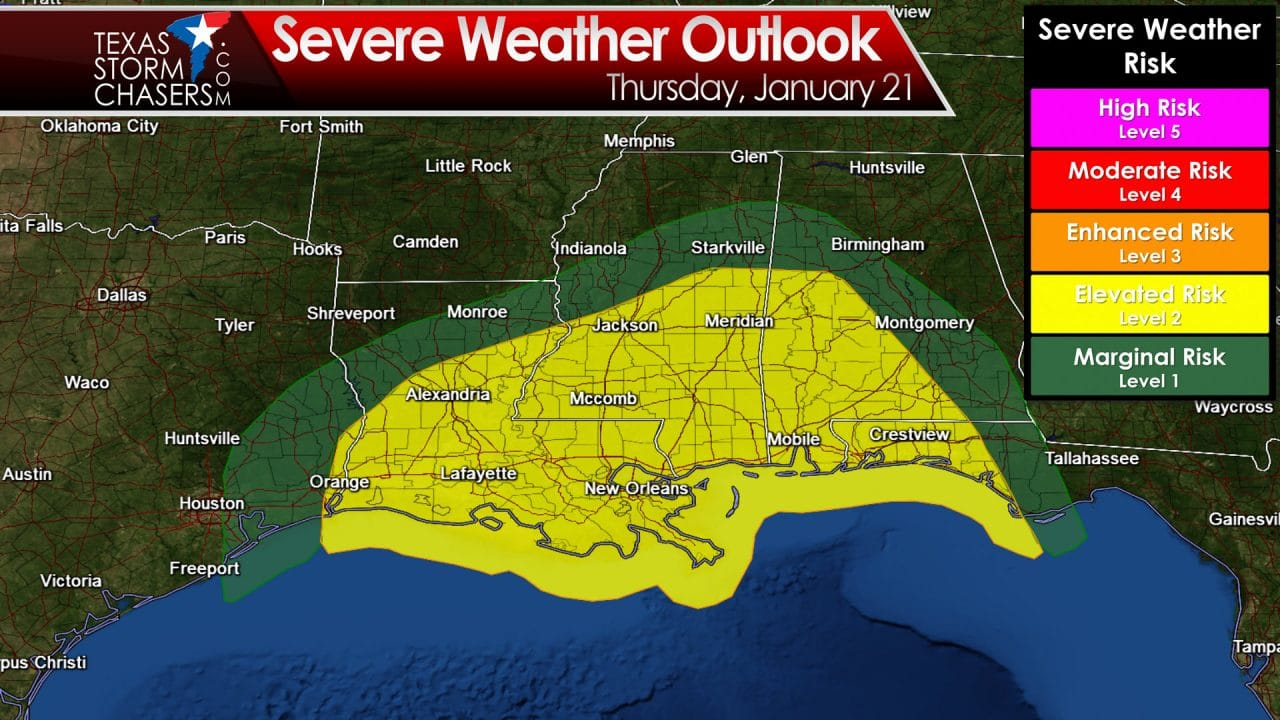 Marginal Severe Weather Risk in Far Southeast Texas early Thursday Afternoon
