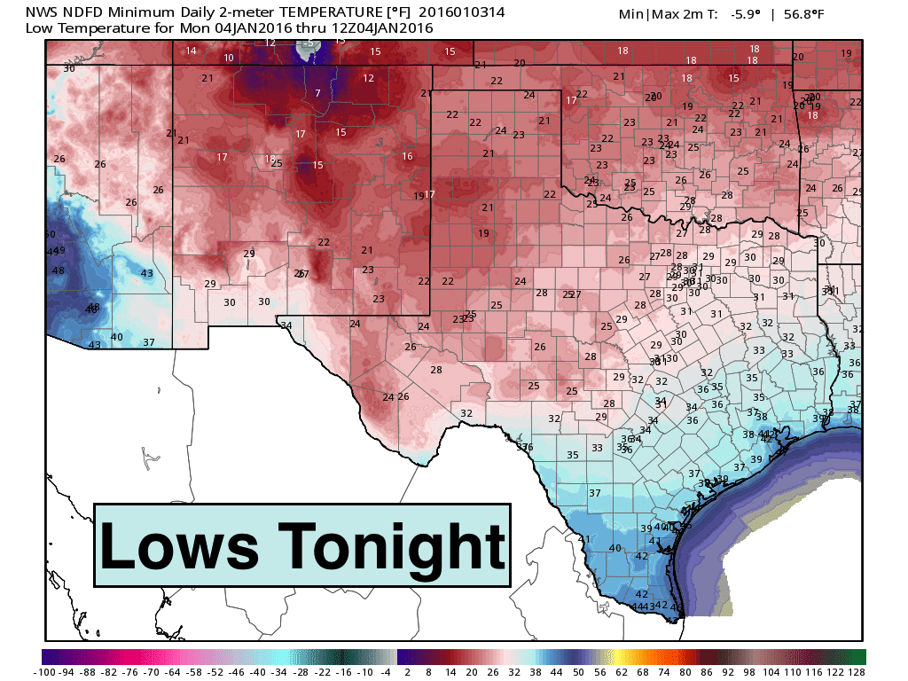 Lows early Monday