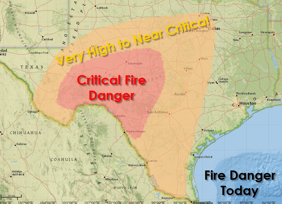 Enhanced to Critical Fire Danger Risk Expands This Afternoon