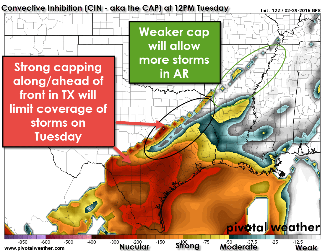 Cold Front Looking Drier Tomorrow; Marginal Risk for a Severe Storm in NE TX on Tuesday