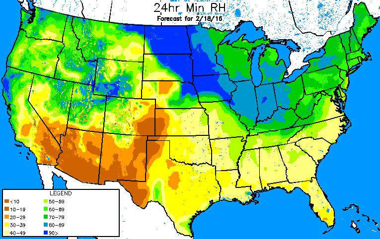 Forecast minimum relative humidity values on Thursday afternoon.