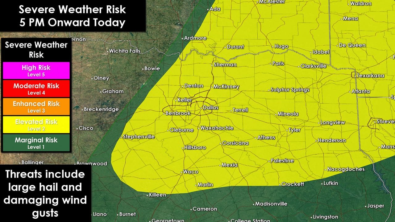 Severe Storm Risk Shifted West This Evening; Now Includes all of D/FW