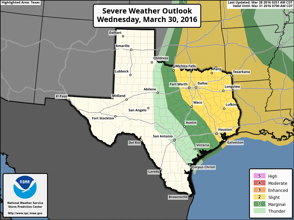 Severe weather outlook for Wednesday afternoon and Wednesday night