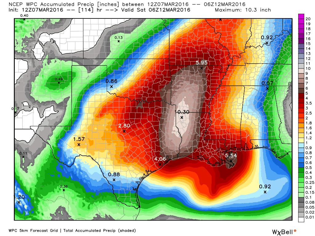 Forecast rain totals through Friday evening