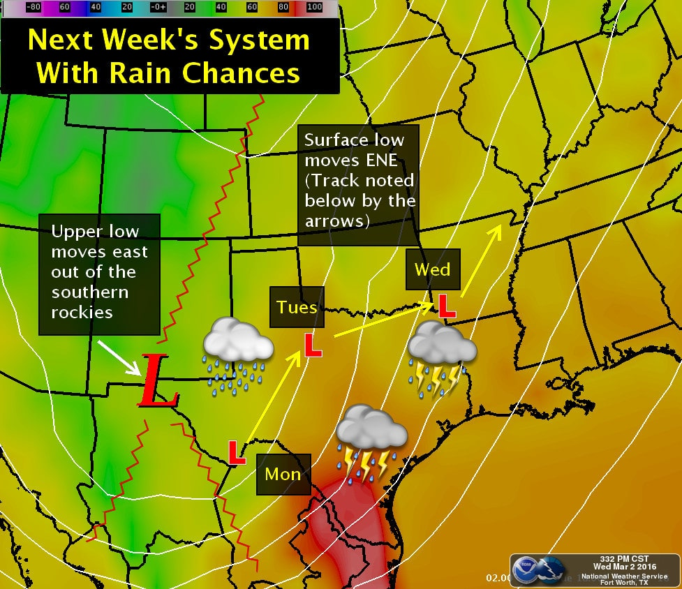 A Weak Cold Front Arrives Tonight – Rain & Storms possible again by early next week