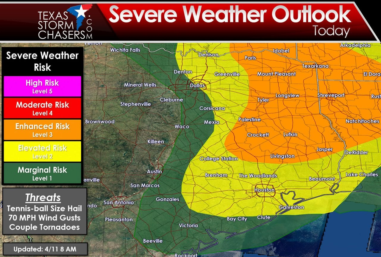 Severe Weather Outlook updated at 8 AM