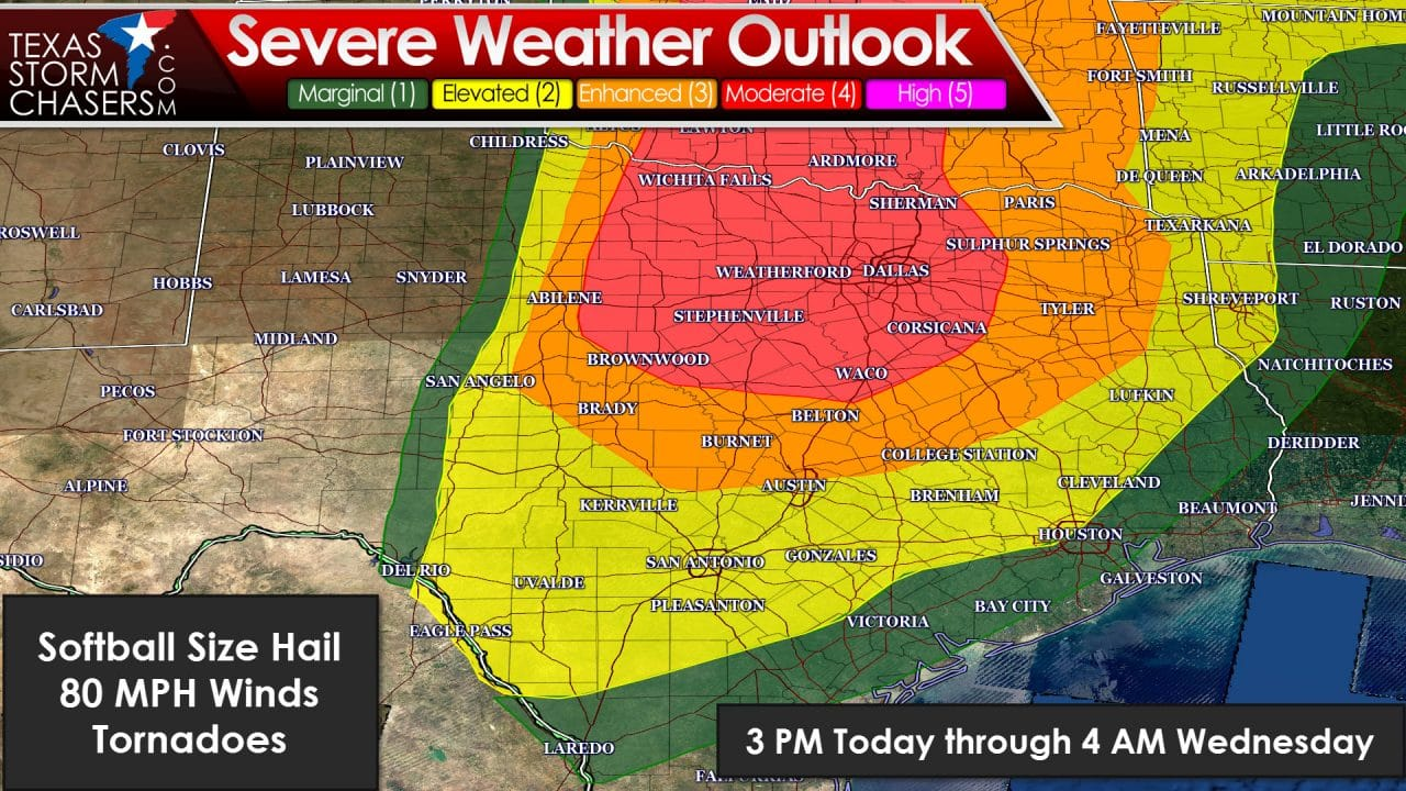 severe weather in texas A storm system from the west will meet a cold front from the north over central  texas on friday, producing potentially severe thunderstorms.