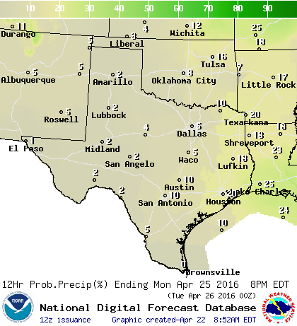 Chance of rain/storms on Monday
