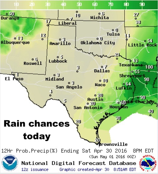 Your Saturday Forecast – Rain/Storms end across SE TX