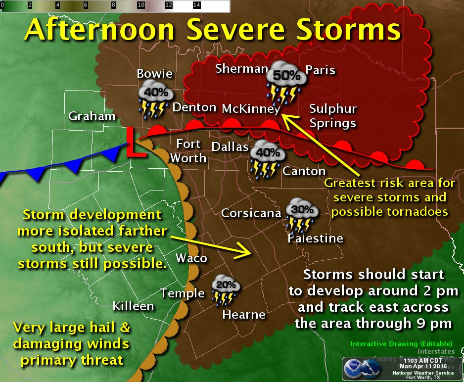 Noon Update on Developing Severe Weather Threat This