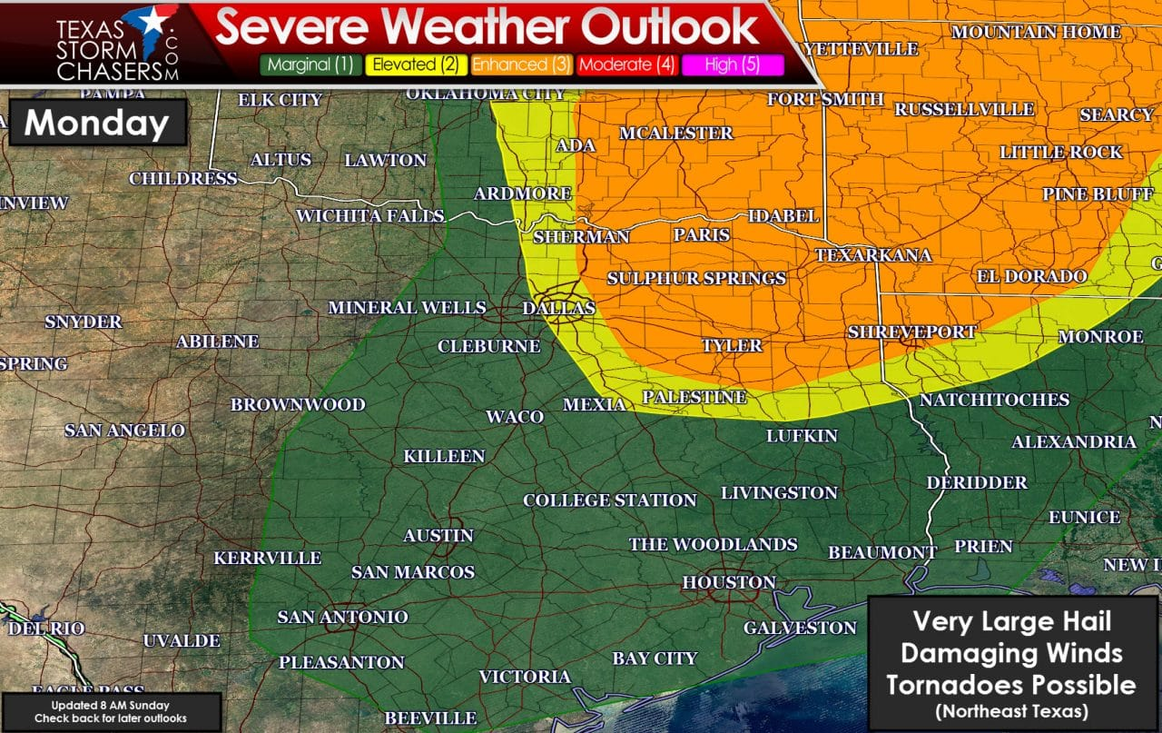 Hail storms possible today; enhanced severe weather risk tomorrow