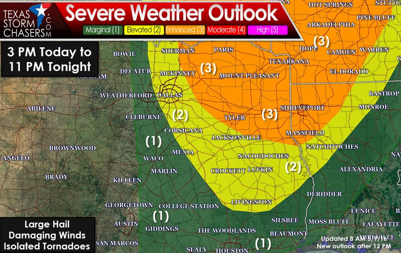 8:30AM Update on this afternoon's severe weather potential