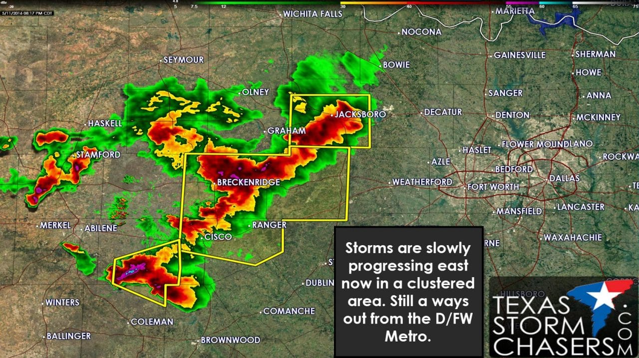 Strong Storms Slowly Moving towards D/FW