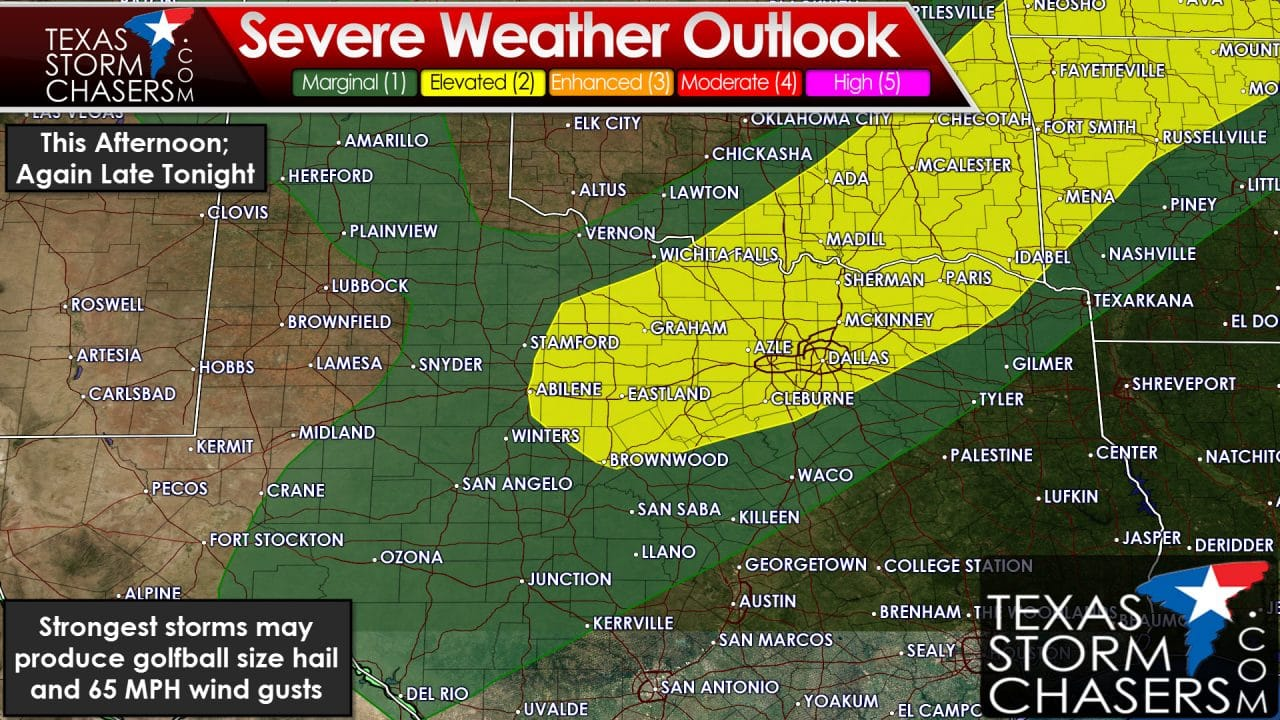 Isolated Severe Storms Possible This Afternoon; More Storms Likely Overnight