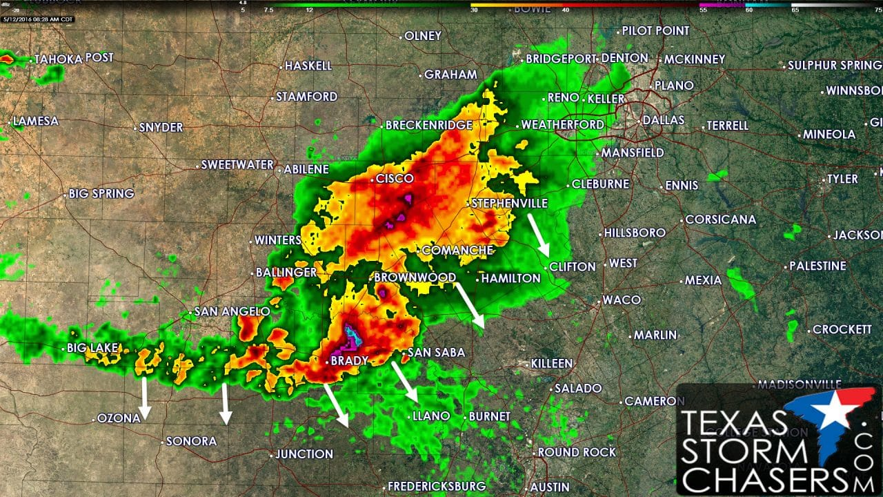 Storms moving into the Hill Country; Marginal Severe Weather Risk Today