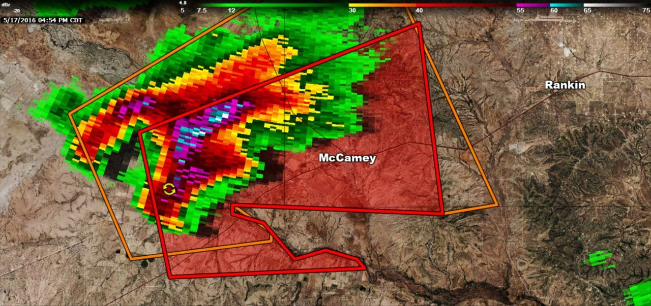 Tornado Warning for McCamey, TX till 515PM