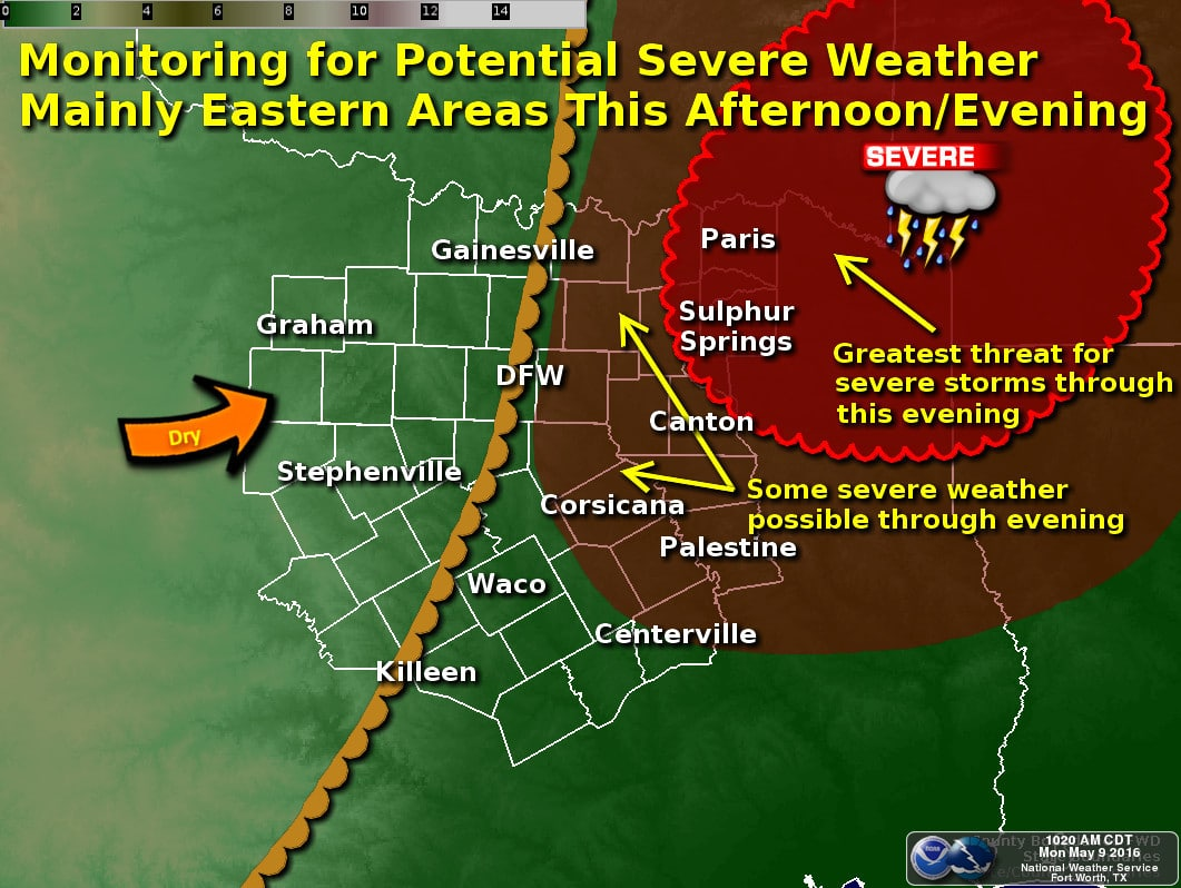 Isolated Severe Storm Development after 3 PM in D/FW and Northeast TX