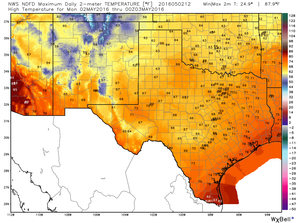 This afternoon's high temperature forecast