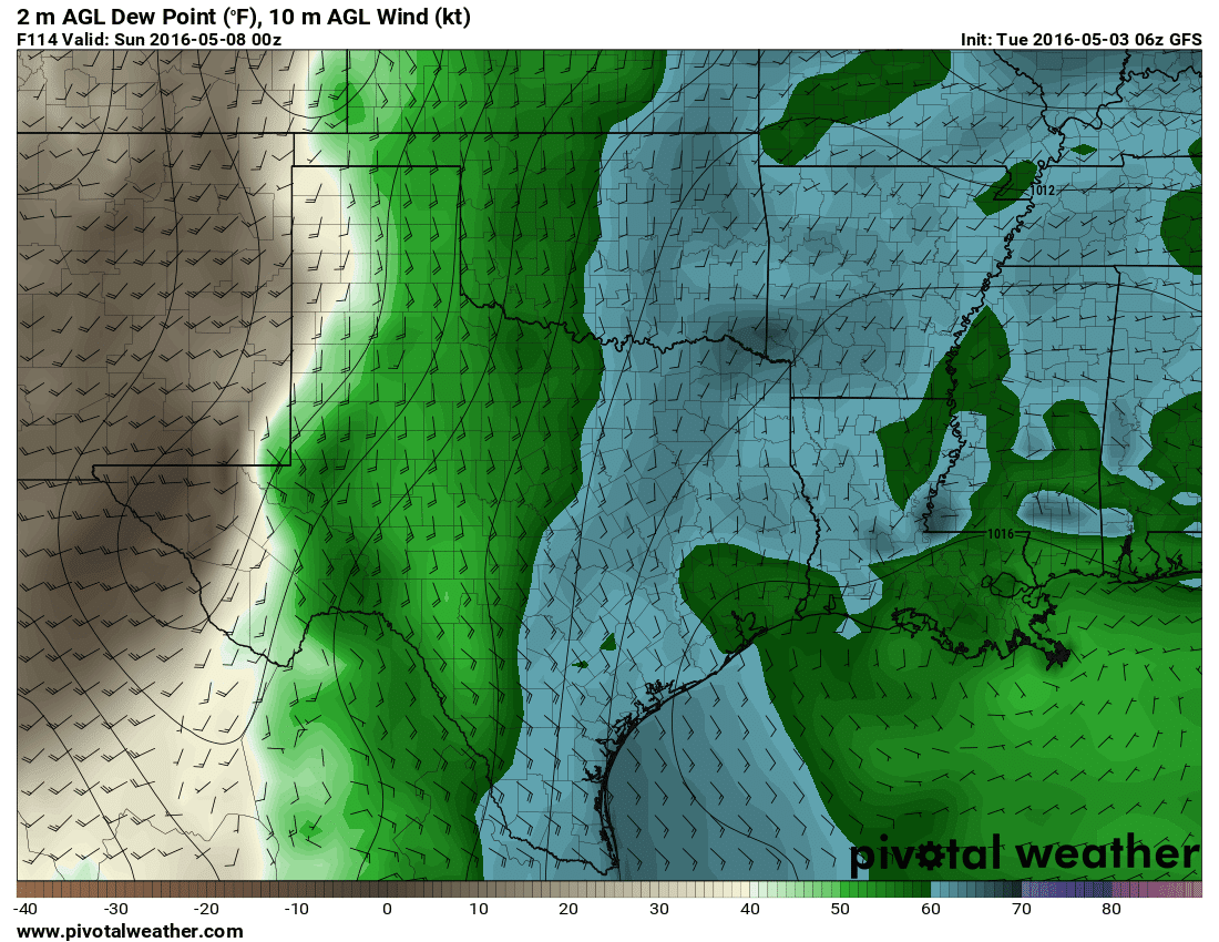 06Z Global Forecast System   Surface dewpoint projection by early Saturday evening.