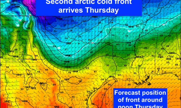 Our Next Arctic Front Arrives Early Tomorrow – Wintry Weather Through Friday