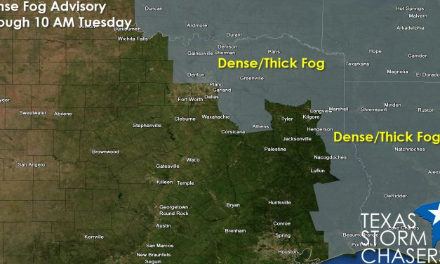 Dense Fog Advisories for parts of North, Northeast, East TX Tonight