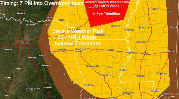Severe Weather Risk Added for Northeast/East Texas Tonight