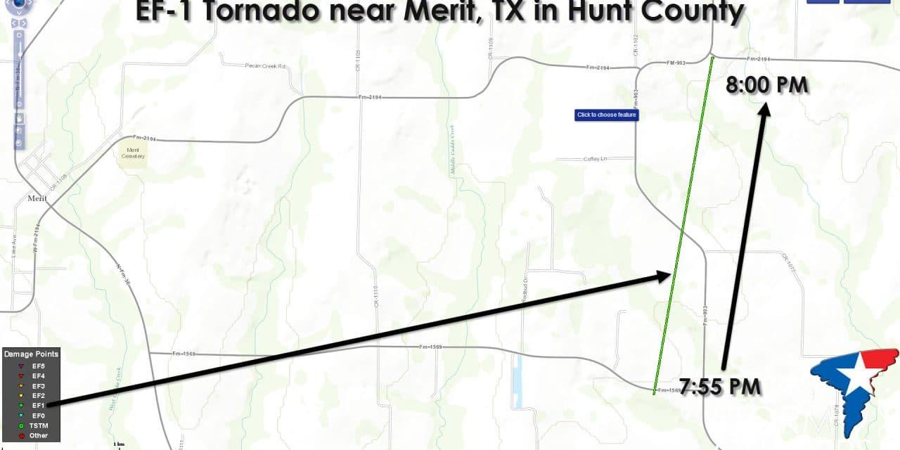 EF-1 Tornado Confirmed near Merit, TX