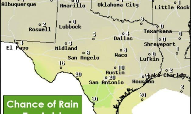 High Rain Chances This Weekend in Southeast Half of Texas