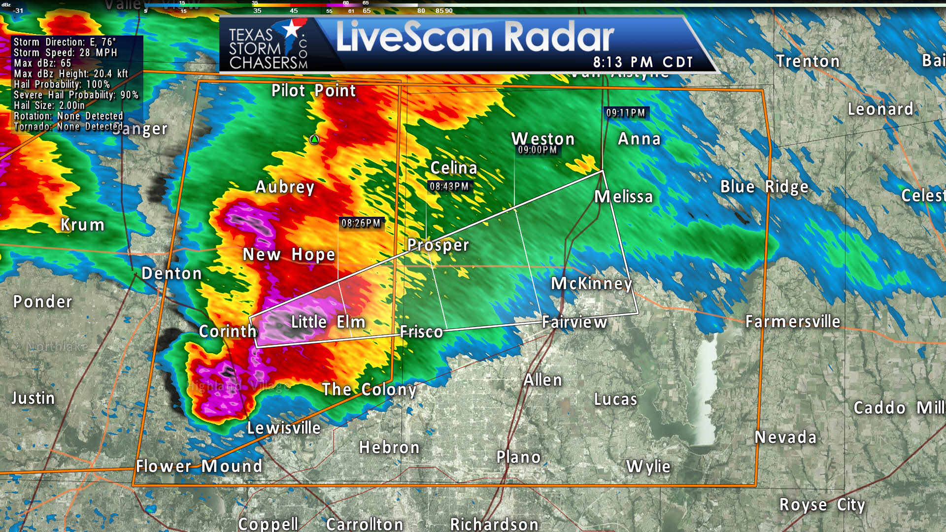 Map Of Texas Storms.Baseball Size Hail Moving Into Collin County Texas Storm Chasers