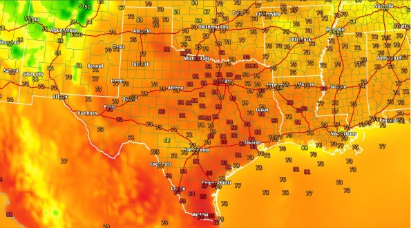 3 PM Temperature Map; D/FW Sets New Record High
